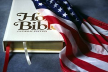 American flag with Bible.