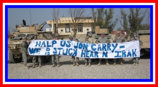 US troops in Iraq mocking Senator John Kerry and his published slur against them in front of a group of students on Monday, 31 October.