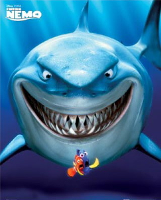 Bruce the Great White shark, Marlin and Dory, from 'Finding Nemo.'